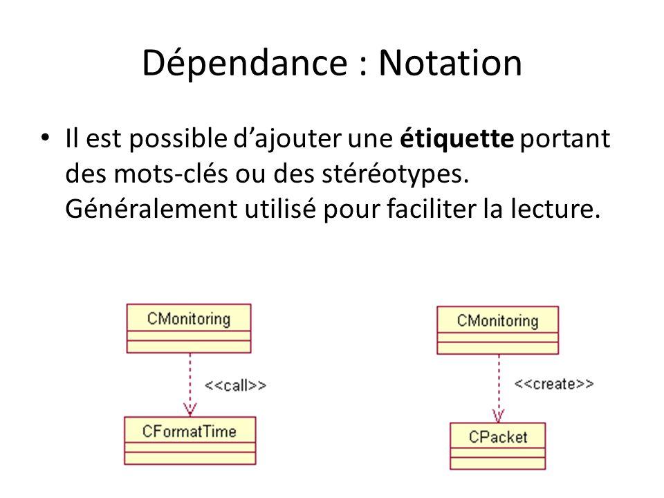 Dépendance : Notation Il est possible dajouter une étiquette portant des mots-clés ou des stéréotypes.