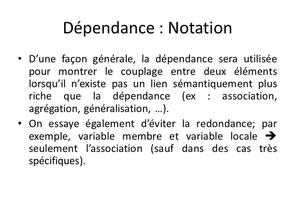 Dépendance : Notation Dune façon générale, la dépendance sera utilisée pour montrer le couplage entre deux éléments lorsquil nexiste pas un lien sémantiquement plus riche que la dépendance (ex : association, agrégation, généralisation, …).