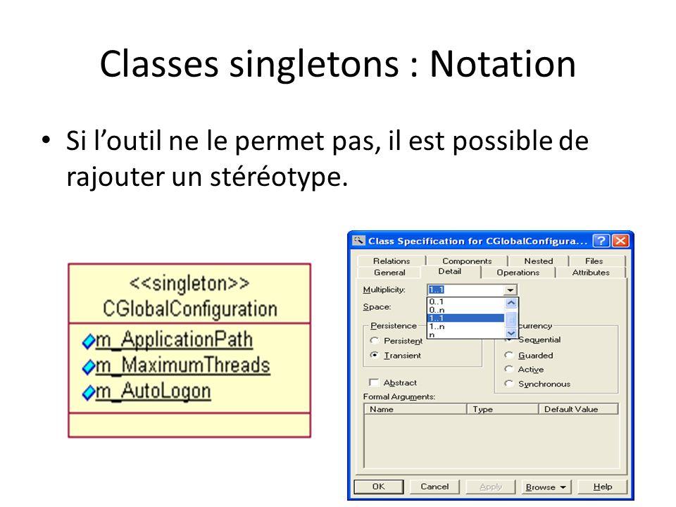Classes singletons : Notation Si loutil ne le permet pas, il est possible de rajouter un stéréotype.