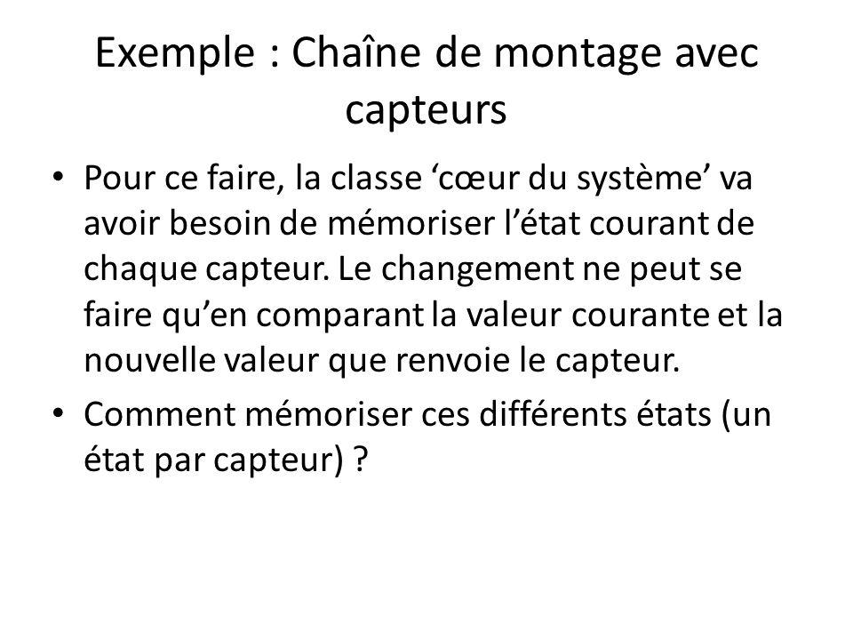 Exemple : Chaîne de montage avec capteurs Pour ce faire, la classe cœur du système va avoir besoin de mémoriser létat courant de chaque capteur.