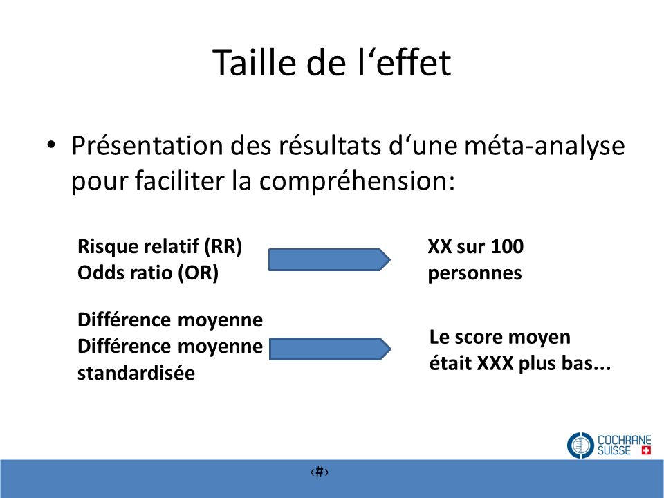 # Taille de leffet Présentation des résultats dune méta-analyse pour faciliter la compréhension: Risque relatif (RR) Odds ratio (OR) Différence moyenn