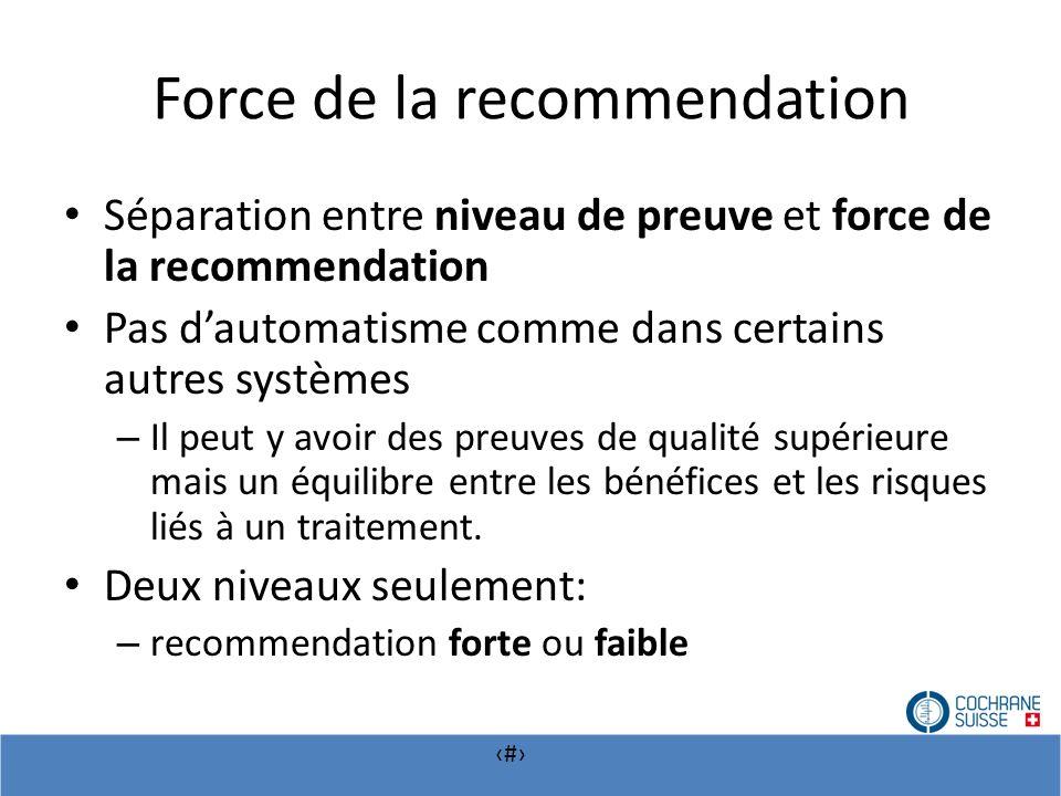 # Force de la recommendation Séparation entre niveau de preuve et force de la recommendation Pas dautomatisme comme dans certains autres systèmes – Il
