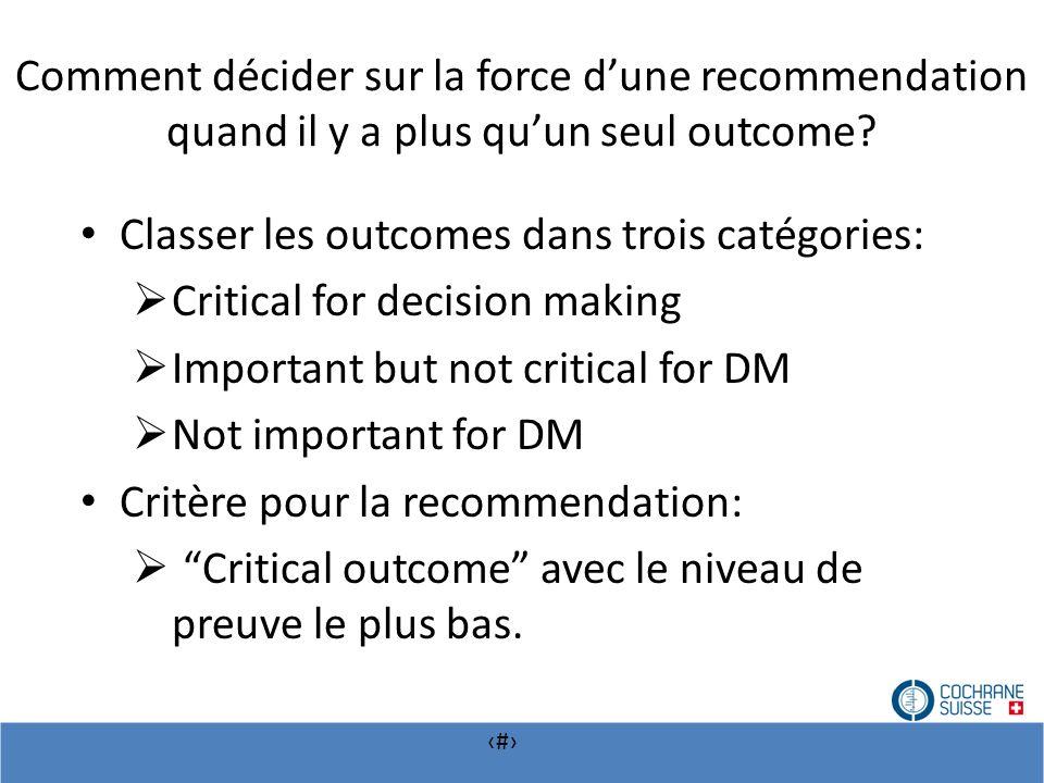 # Comment décider sur la force dune recommendation quand il y a plus quun seul outcome? Classer les outcomes dans trois catégories: Critical for decis