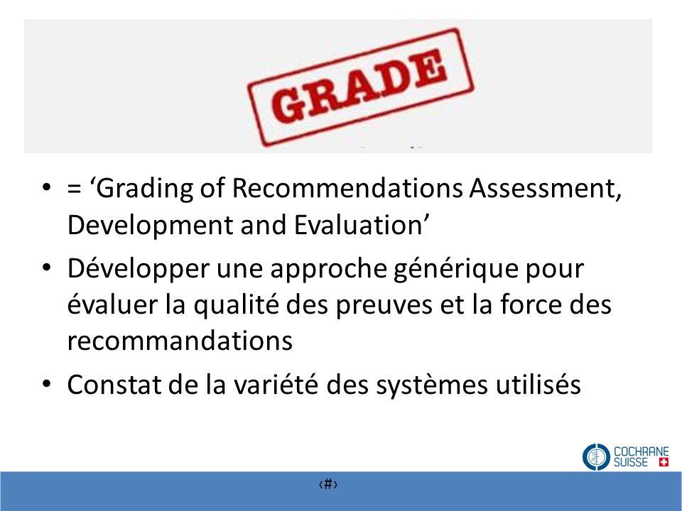 # = Grading of Recommendations Assessment, Development and Evaluation Développer une approche générique pour évaluer la qualité des preuves et la forc