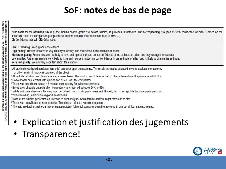 # SoF: notes de bas de page Explication et justification des jugements Transparence!