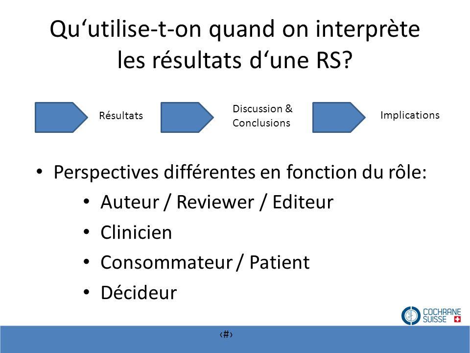 # Quutilise-t-on quand on interprète les résultats dune RS? Implications Discussion & Conclusions Résultats Perspectives différentes en fonction du rô