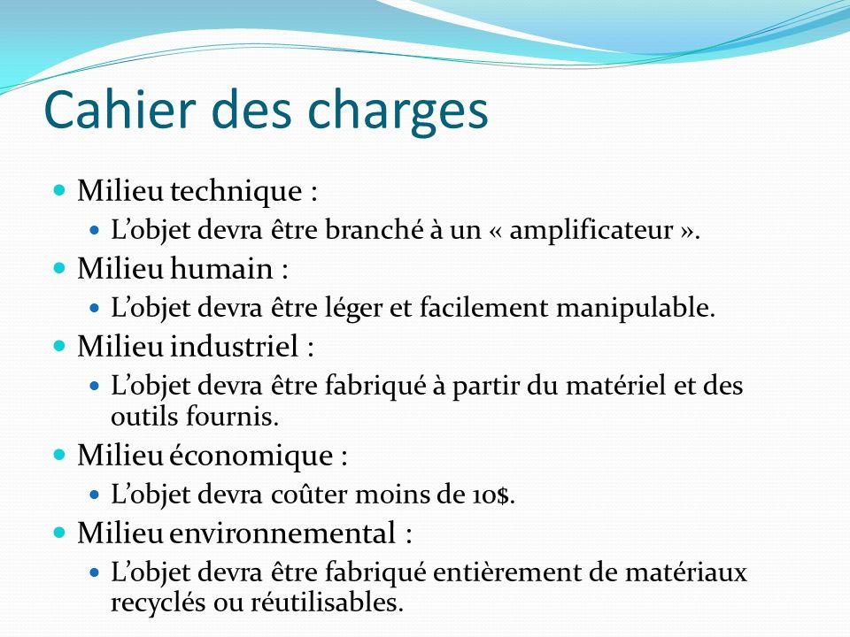 Cahier des charges Milieu technique : Lobjet devra être branché à un « amplificateur ». Milieu humain : Lobjet devra être léger et facilement manipula