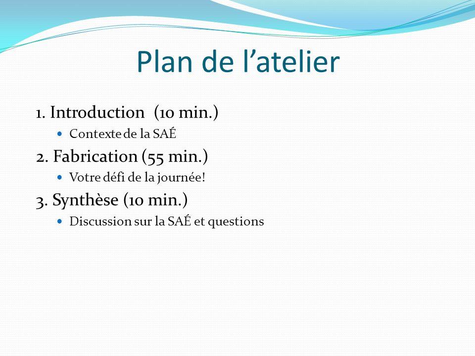 Plan de latelier 1.Introduction (10 min.) Contexte de la SAÉ 2.