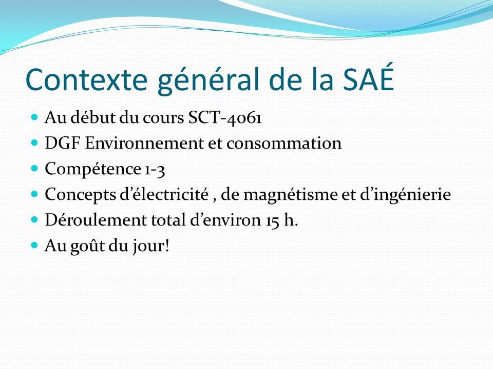 Contexte général de la SAÉ Au début du cours SCT-4061 DGF Environnement et consommation Compétence 1-3 Concepts délectricité, de magnétisme et dingénierie Déroulement total denviron 15 h.