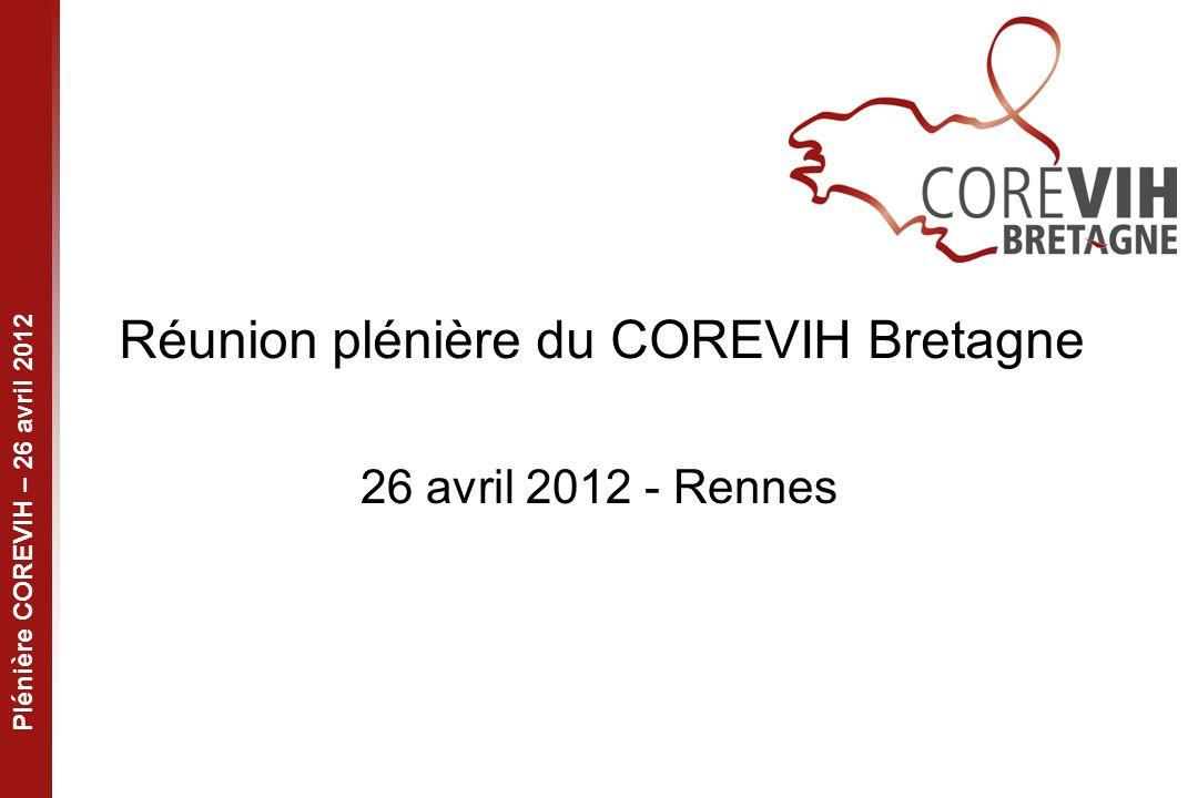 Plénière COREVIH – 26 avril 2012 Réunion plénière du COREVIH Bretagne 26 avril 2012 - Rennes