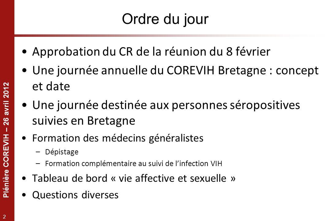 Plénière COREVIH – 26 avril 2012 3 Journée annuelle du COREVIH Permettre une réunion « élargie » du COREVIH Une base scientifique Une base conviviale .