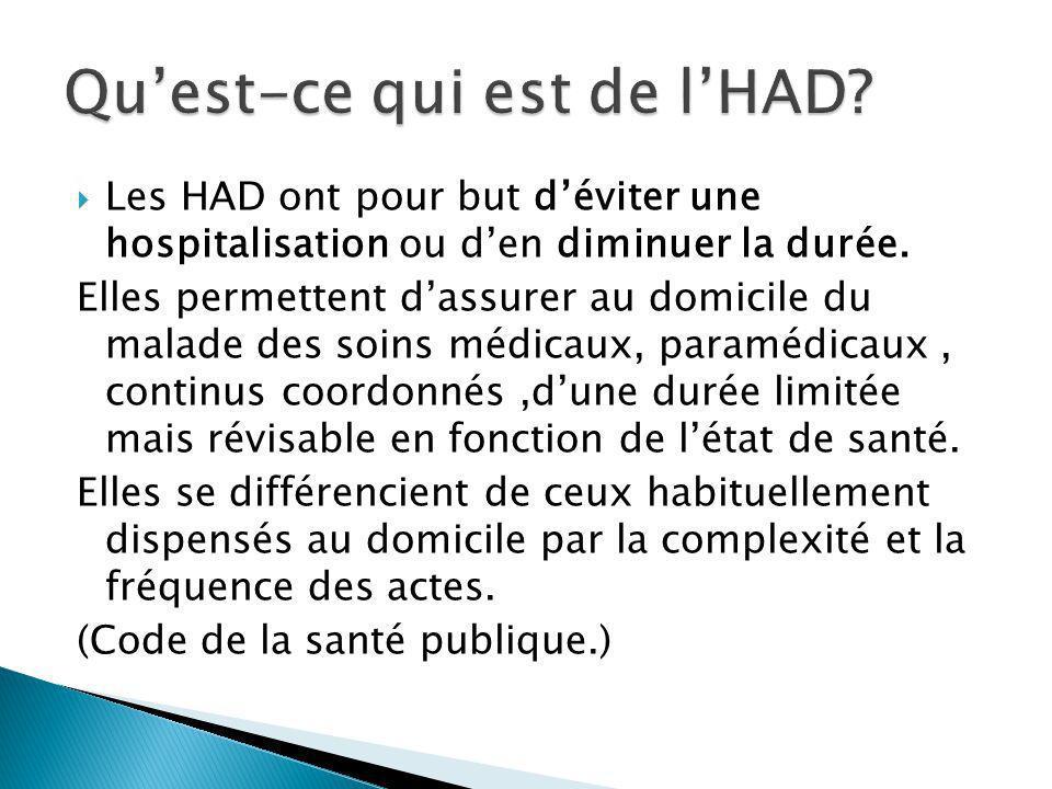 Les HAD ont pour but déviter une hospitalisation ou den diminuer la durée. Elles permettent dassurer au domicile du malade des soins médicaux, paraméd