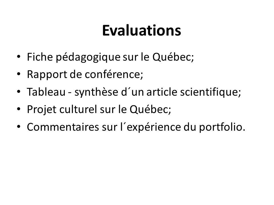 Fiche pédagogique sur le Québec; Rapport de conférence; Tableau - synthèse d´un article scientifique; Projet culturel sur le Québec; Commentaires sur l´expérience du portfolio.