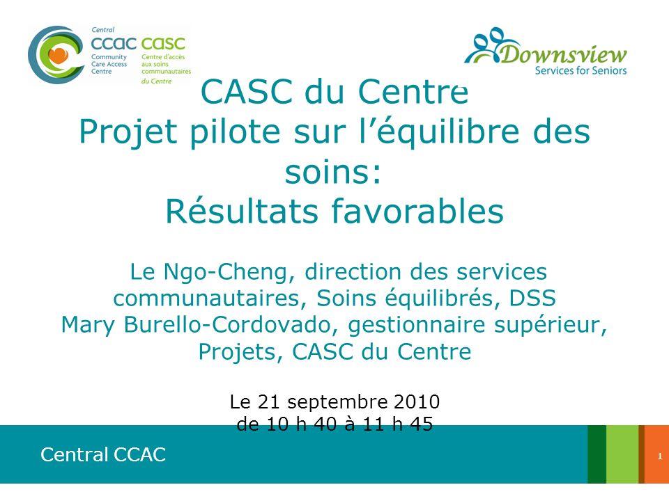 Central CCAC CASC du Centre Projet pilote sur léquilibre des soins: Résultats favorables Le Ngo-Cheng, direction des services communautaires, Soins éq