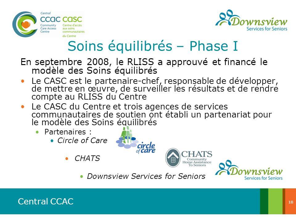 Central CCAC Soins équilibrés – Phase I En septembre 2008, le RLISS a approuvé et financé le modèle des Soins équilibrés Le CASC est le partenaire-che