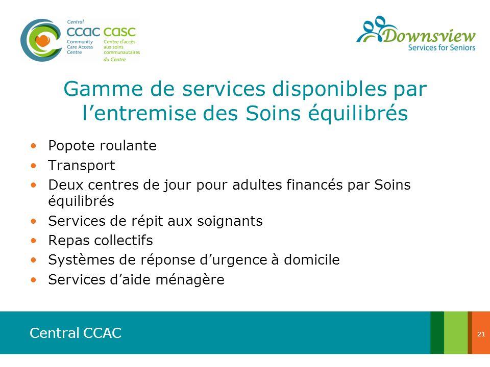 Central CCAC Gamme de services disponibles par lentremise des Soins équilibrés Popote roulante Transport Deux centres de jour pour adultes financés pa