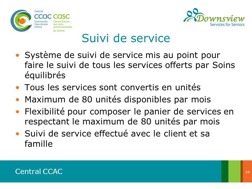 Central CCAC Suivi de service Système de suivi de service mis au point pour faire le suivi de tous les services offerts par Soins équilibrés Tous les