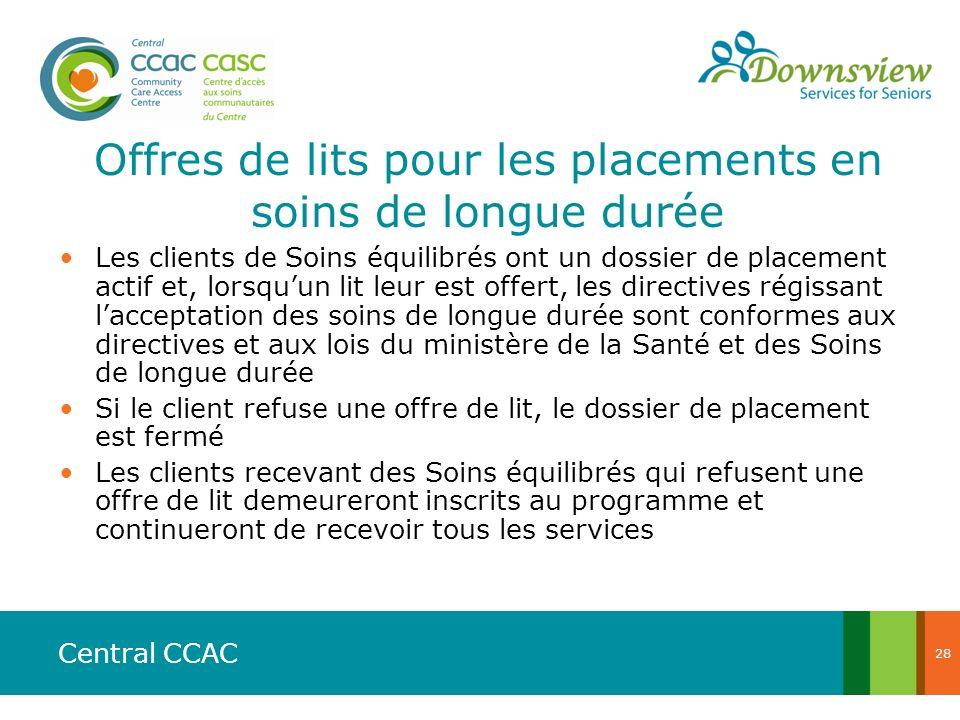 Central CCAC Offres de lits pour les placements en soins de longue durée Les clients de Soins équilibrés ont un dossier de placement actif et, lorsquu