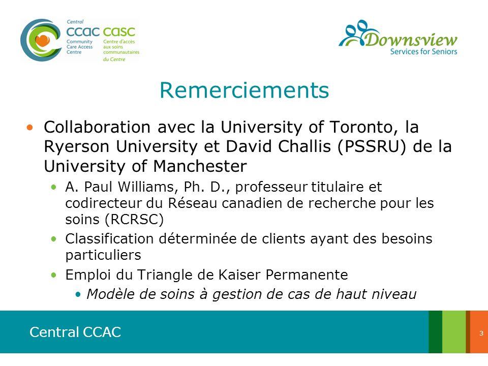 Central CCAC Remerciements Collaboration avec la University of Toronto, la Ryerson University et David Challis (PSSRU) de la University of Manchester