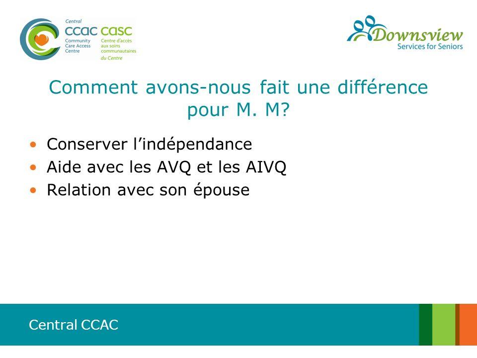 Central CCAC Comment avons-nous fait une différence pour M. M? Conserver lindépendance Aide avec les AVQ et les AIVQ Relation avec son épouse