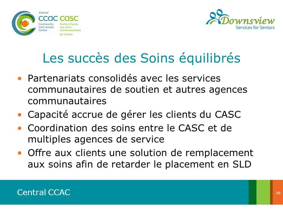 Central CCAC Les succès des Soins équilibrés Partenariats consolidés avec les services communautaires de soutien et autres agences communautaires Capa