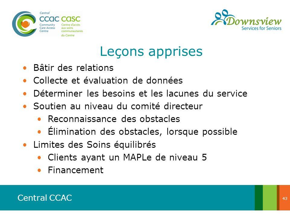 Central CCAC Leçons apprises Bâtir des relations Collecte et évaluation de données Déterminer les besoins et les lacunes du service Soutien au niveau