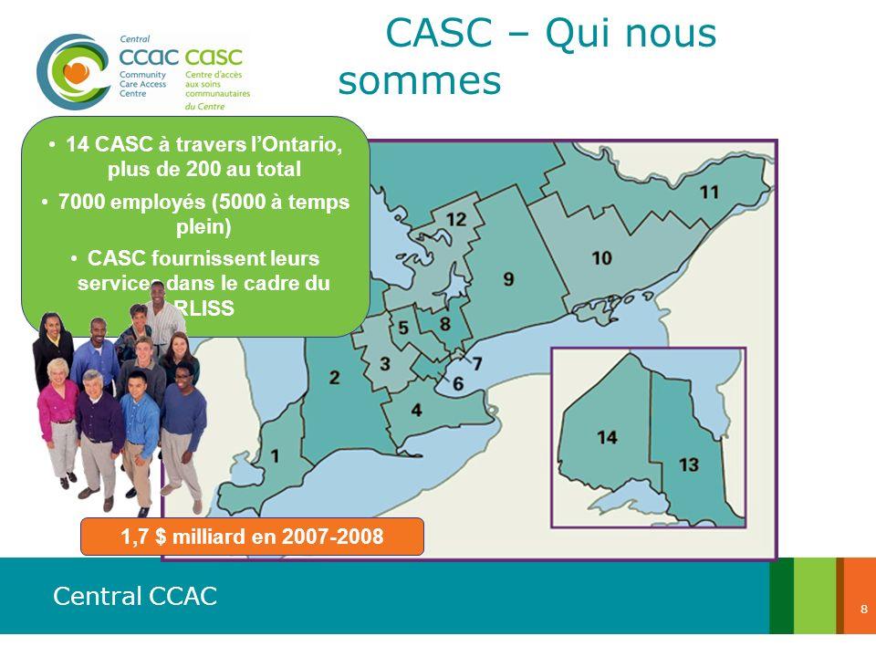 Central CCAC 8 14 CASC à travers lOntario, plus de 200 au total 7000 employés (5000 à temps plein) CASC fournissent leurs services dans le cadre du RL