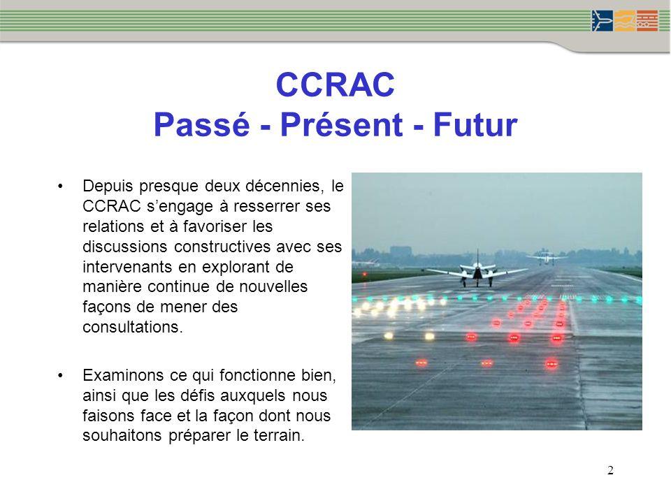 CCRAC Passé - Présent - Futur Depuis presque deux décennies, le CCRAC sengage à resserrer ses relations et à favoriser les discussions constructives avec ses intervenants en explorant de manière continue de nouvelles façons de mener des consultations.