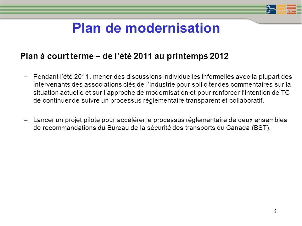 Plan de modernisation 6 Plan à court terme – de lété 2011 au printemps 2012 –Pendant lété 2011, mener des discussions individuelles informelles avec l