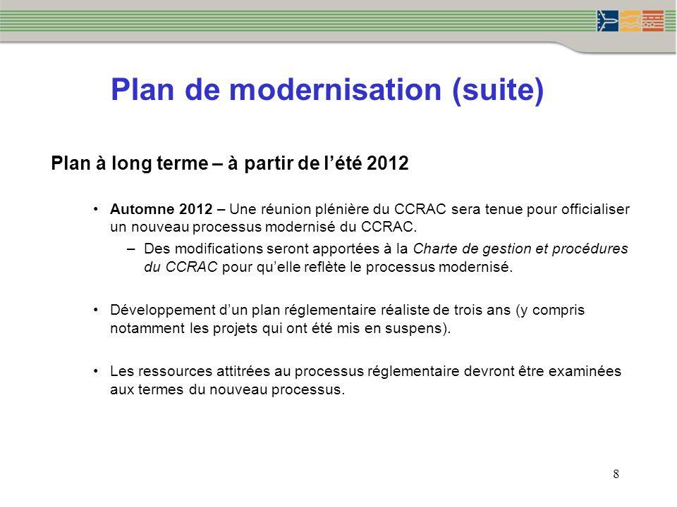 Plan de modernisation (suite) Plan à long terme – à partir de lété 2012 Automne 2012 – Une réunion plénière du CCRAC sera tenue pour officialiser un n