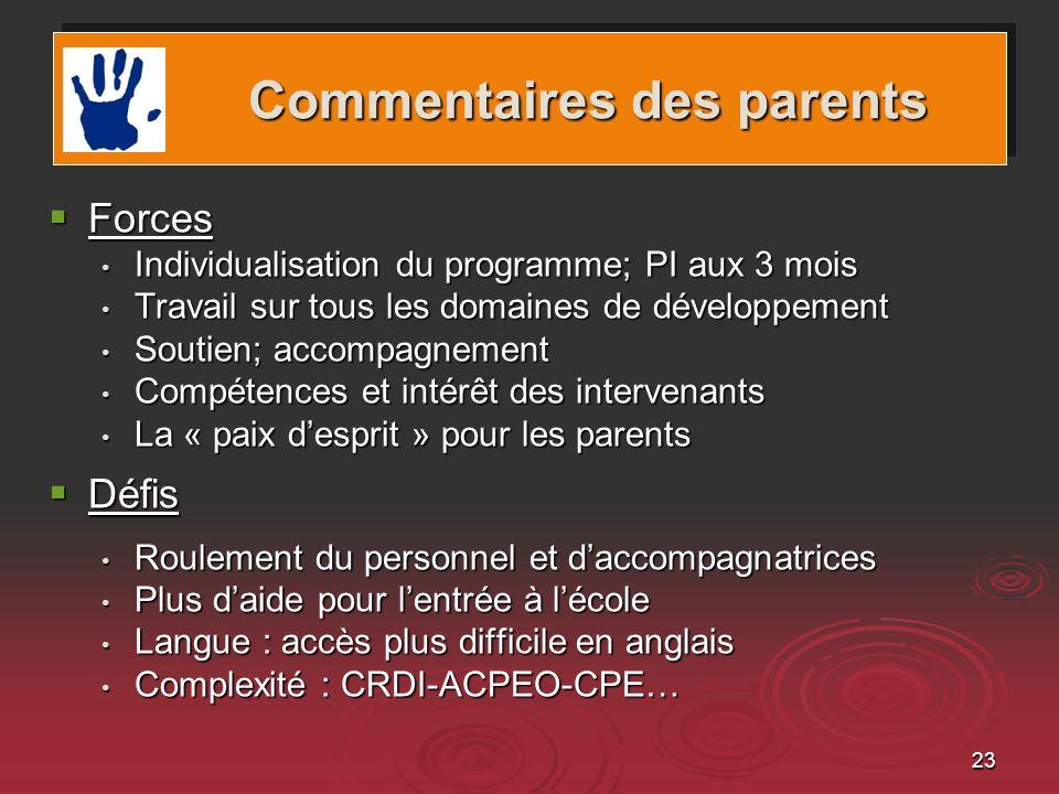 23 Forces Forces Individualisation du programme; PI aux 3 mois Individualisation du programme; PI aux 3 mois Travail sur tous les domaines de développ