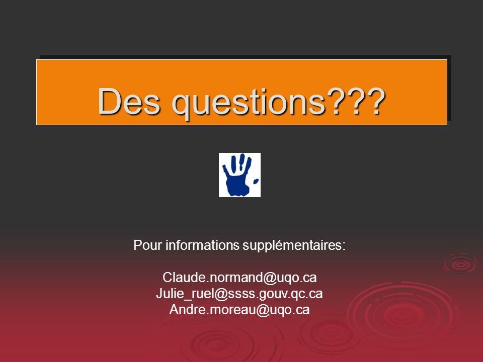 Des questions??? Pour informations supplémentaires: Claude.normand@uqo.ca Julie_ruel@ssss.gouv.qc.ca Andre.moreau@uqo.ca