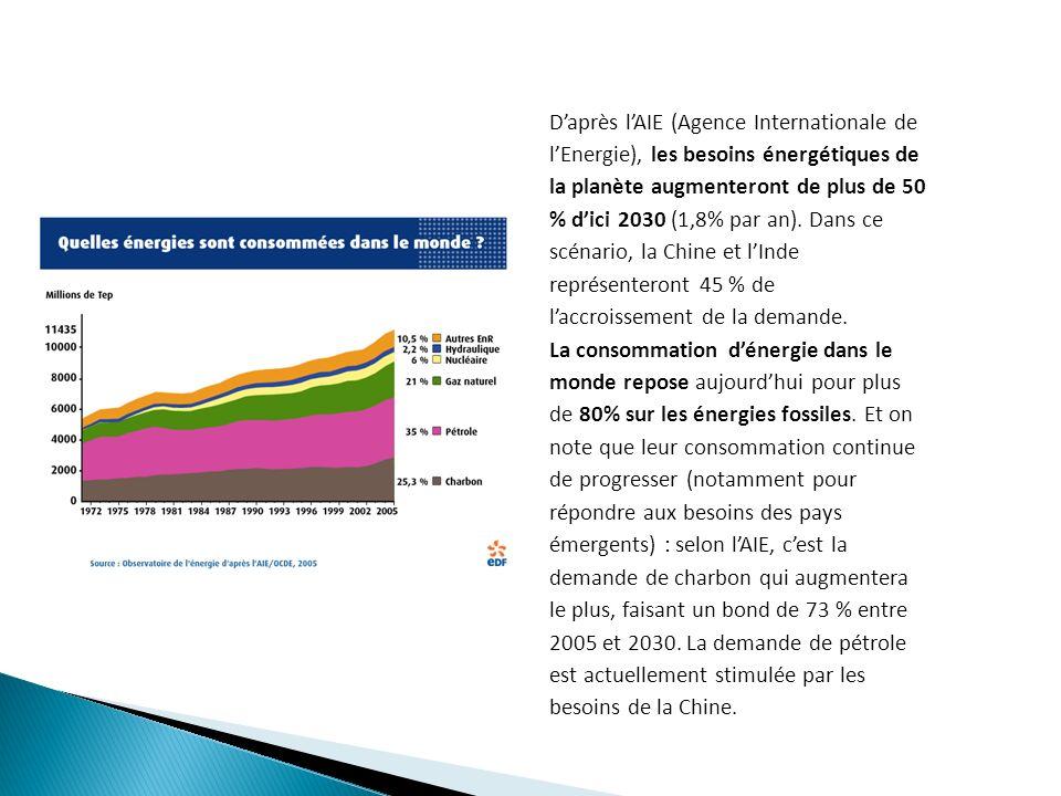 Daprès lAIE (Agence Internationale de lEnergie), les besoins énergétiques de la planète augmenteront de plus de 50 % dici 2030 (1,8% par an).