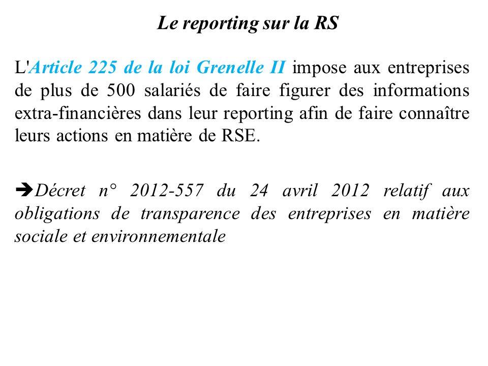 Le reporting sur la RS L'Article 225 de la loi Grenelle II impose aux entreprises de plus de 500 salariés de faire figurer des informations extra-fina