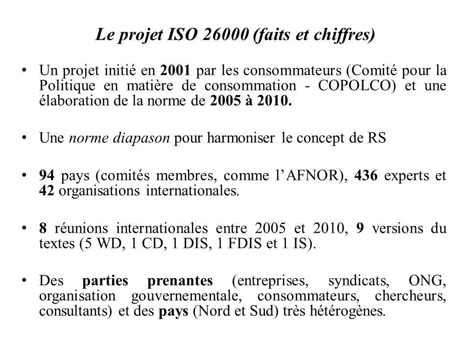 Le projet ISO 26000 (faits et chiffres) Un projet initié en 2001 par les consommateurs (Comité pour la Politique en matière de consommation - COPOLCO)