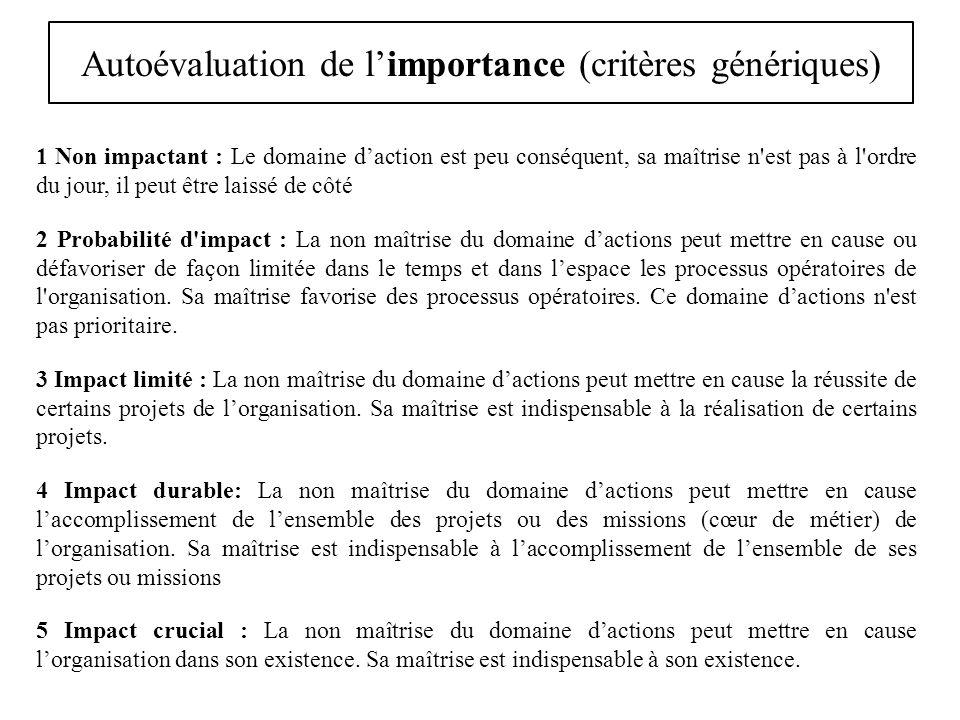 Autoévaluation de limportance (critères génériques) 1 Non impactant : Le domaine daction est peu conséquent, sa maîtrise n'est pas à l'ordre du jour,