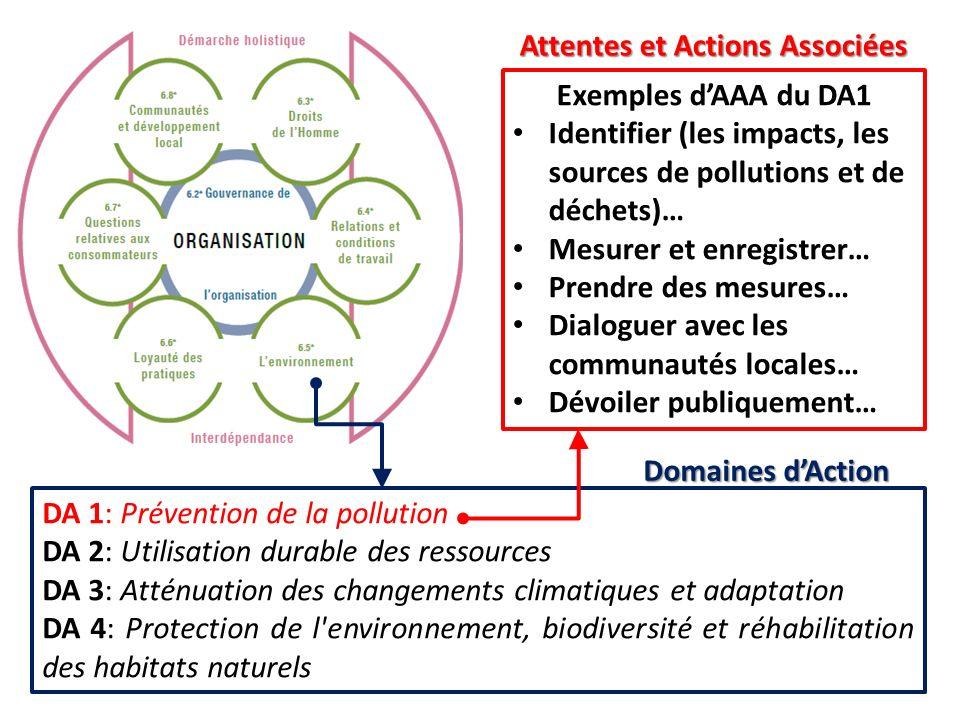 DA 1: Prévention de la pollution DA 2: Utilisation durable des ressources DA 3: Atténuation des changements climatiques et adaptation DA 4: Protection