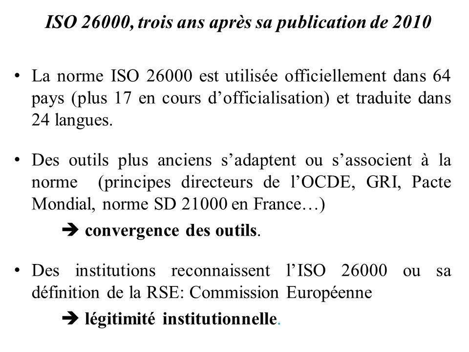 ISO 26000, trois ans après sa publication de 2010 La norme ISO 26000 est utilisée officiellement dans 64 pays (plus 17 en cours dofficialisation) et t