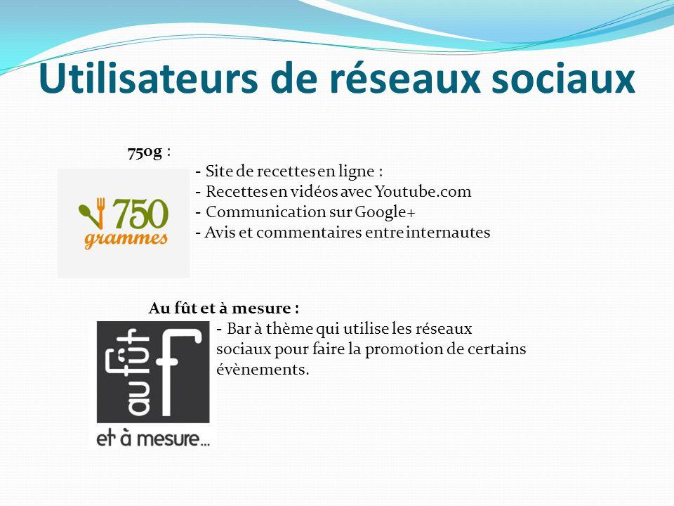 Utilisateurs de réseaux sociaux 750g : - Site de recettes en ligne : - Recettes en vidéos avec Youtube.com - Communication sur Google+ - Avis et comme