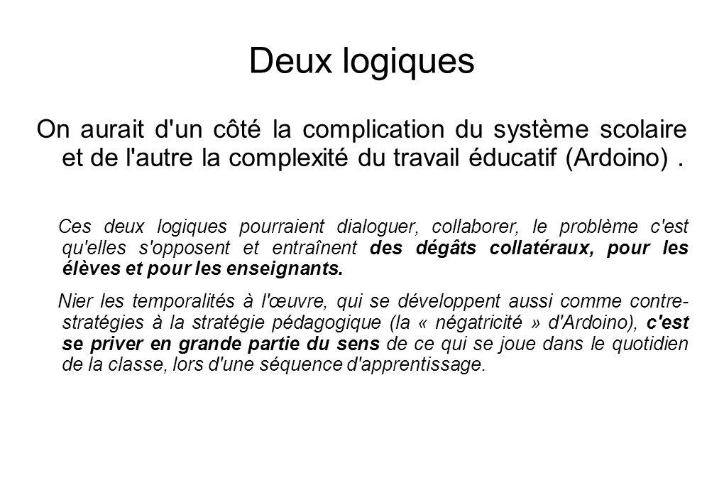 Deux logiques On aurait d'un côté la complication du système scolaire et de l'autre la complexité du travail éducatif (Ardoino). Ces deux logiques pou