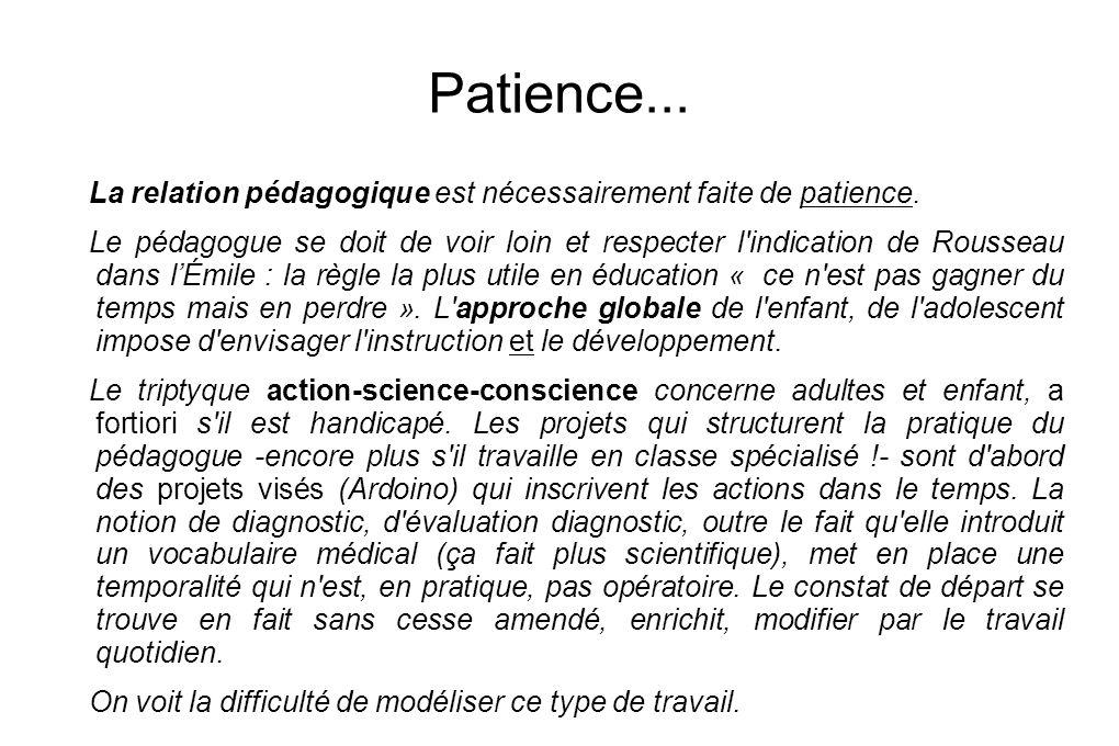 Patience... La relation pédagogique est nécessairement faite de patience. Le pédagogue se doit de voir loin et respecter l'indication de Rousseau dans