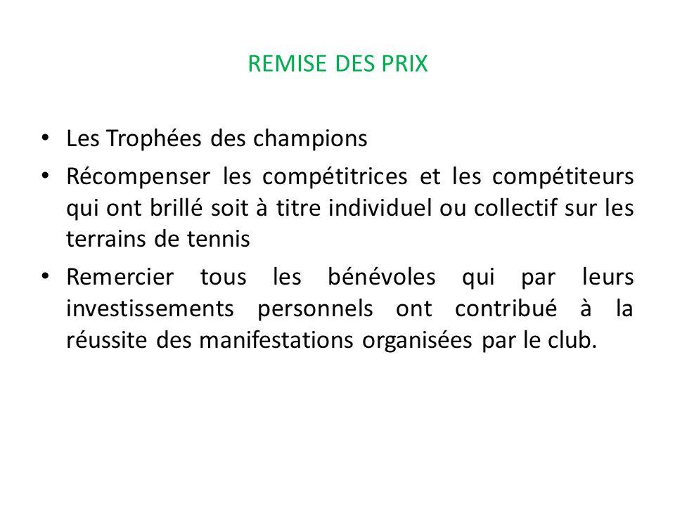 REMISE DES PRIX Les Trophées des champions Récompenser les compétitrices et les compétiteurs qui ont brillé soit à titre individuel ou collectif sur l
