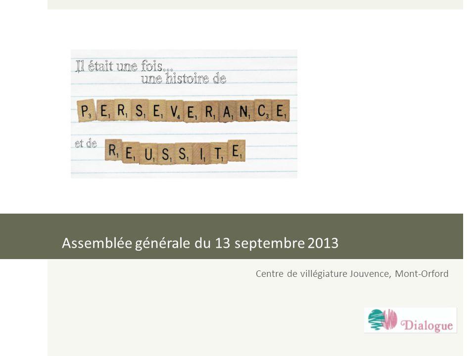 Assemblée générale du 13 septembre 2013 Centre de villégiature Jouvence, Mont-Orford