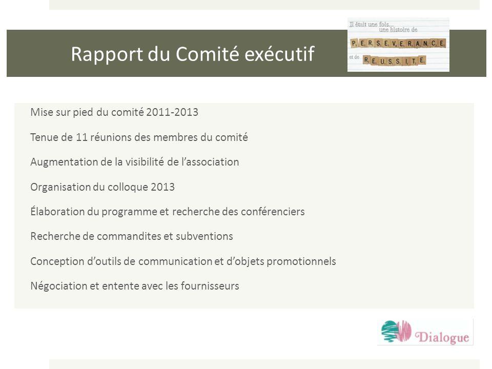 Rapport du Comité exécutif Mise sur pied du comité 2011-2013 Tenue de 11 réunions des membres du comité Augmentation de la visibilité de lassociation