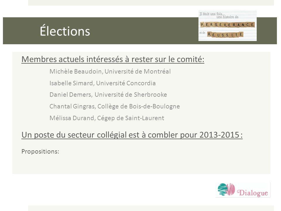 Élections Membres actuels intéressés à rester sur le comité: Michèle Beaudoin, Université de Montréal Isabelle Simard, Université Concordia Daniel Dem