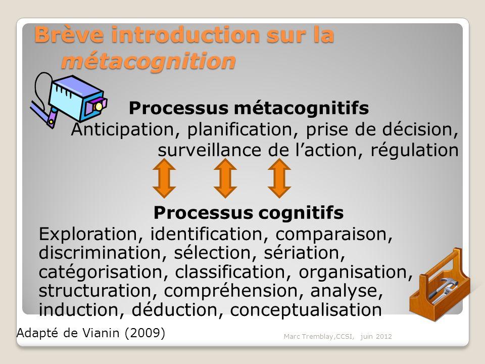 Marc Tremblay,CCSI, juin 2012 Processus métacognitifs Anticipation, planification, prise de décision, surveillance de laction, régulation Processus co