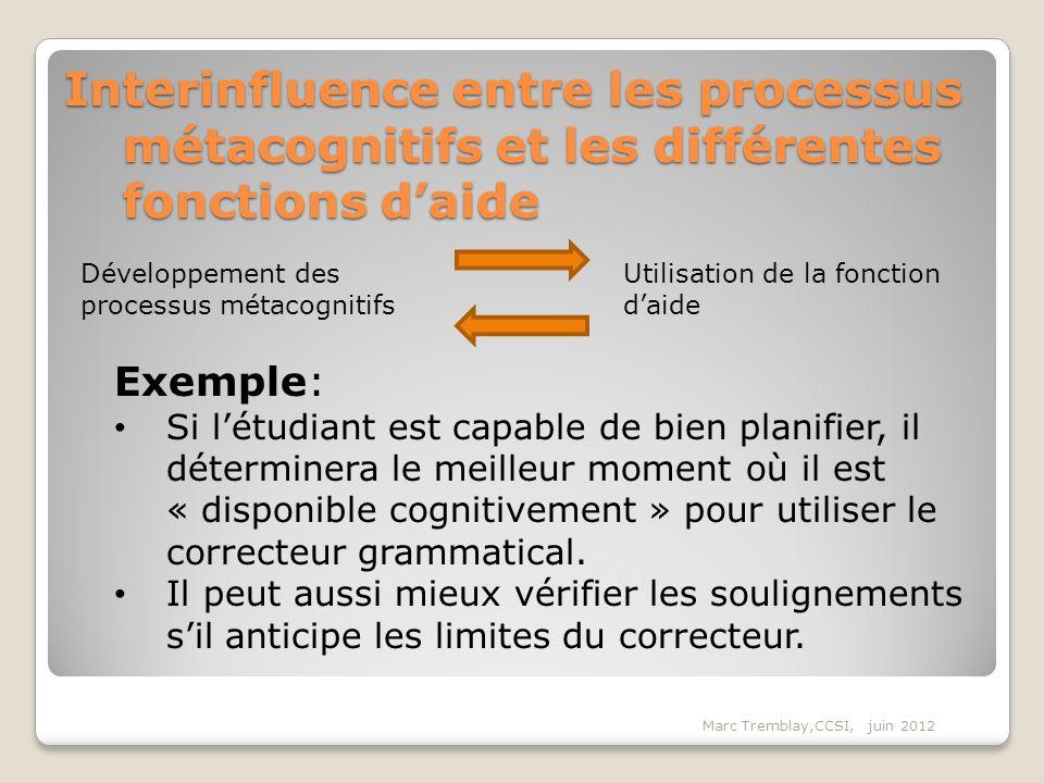 Interinfluence entre les processus métacognitifs et les différentes fonctions daide Exemple: Si létudiant est capable de bien planifier, il déterminer