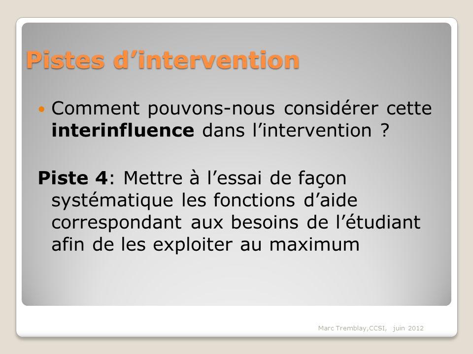Pistes dintervention Comment pouvons-nous considérer cette interinfluence dans lintervention ? Piste 4: Mettre à lessai de façon systématique les fonc