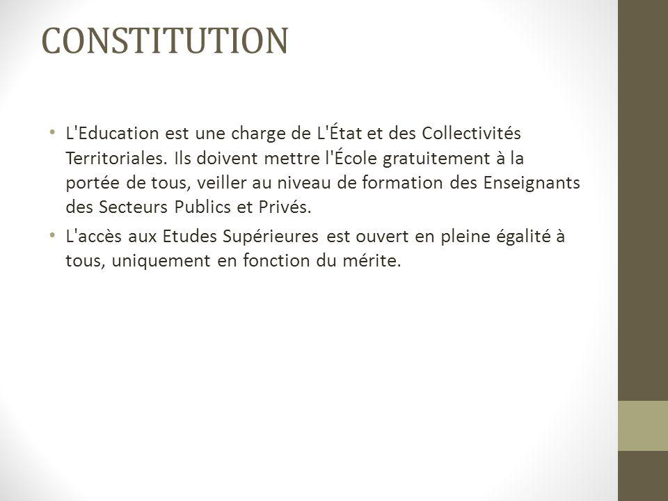 CONSTITUTION L Education est une charge de L État et des Collectivités Territoriales.