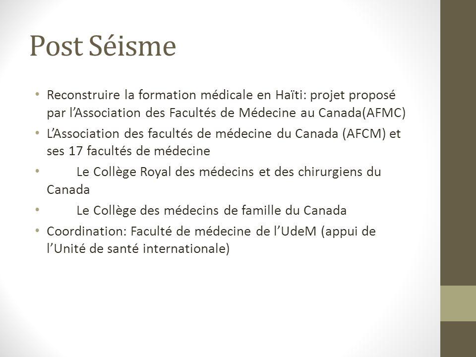 Post Séisme Reconstruire la formation médicale en Haïti: projet proposé par lAssociation des Facultés de Médecine au Canada(AFMC) LAssociation des facultés de médecine du Canada (AFCM) et ses 17 facultés de médecine Le Collège Royal des médecins et des chirurgiens du Canada Le Collège des médecins de famille du Canada Coordination: Faculté de médecine de lUdeM (appui de lUnité de santé internationale)